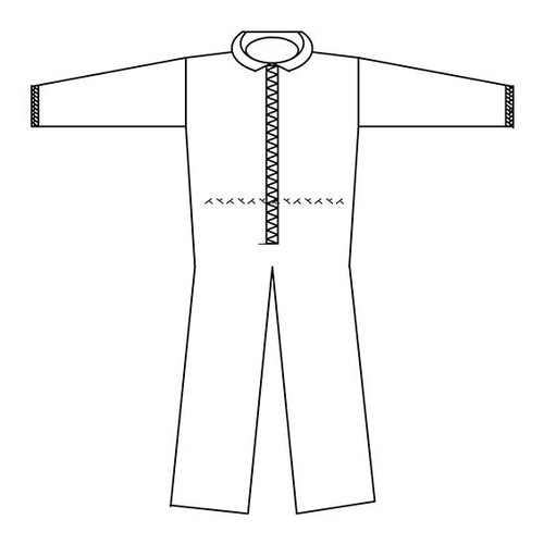 Coveralls, Breathable Poly, White, Product Drawing