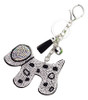 Black Faux Leather Dog Keychain with Clear Rhinestones