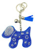 Blue Faux Leather Dog Keychain with Rhinestones