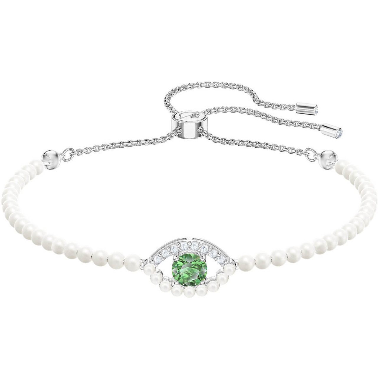 Swarovski Luckily Green Evil Eye Subtle Bracelet with Baby Pearls