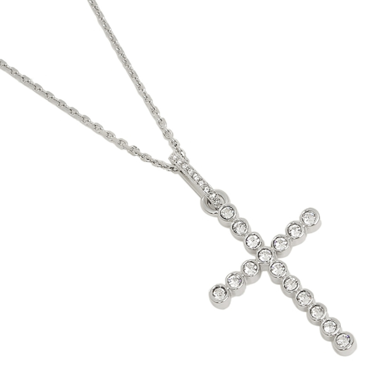 297e84a503 Swarovski Bezel Set Cross Pendant in Rhodium