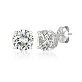 Crislu Royal Cut Stud Earrings in Platinum