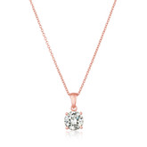 Crislu Royal Cut Pendant in Rose Gold Plating