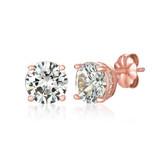 Crislu Royal Cut Stud Earrings in Rose Gold Plating