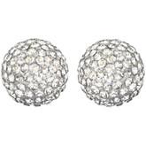 Swarovski Emma White Crystals Button Earrings, Rhodium