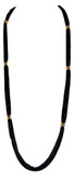 Adami & Martucci Black Mesh Long Necklace with Gold Balls