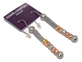 Adami & Martucci Silver Mesh Earrings With Multi-Color Matte Finish Beads
