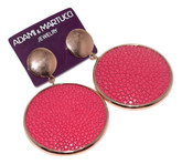 Adami & Martucci Pink Stingray Circle Rose Gold Earrings