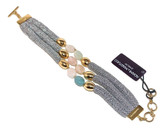Adami & Martucci 3-String Silver Mesh Bracelet With Beads