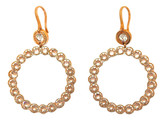 Large Circle Earrings with Champagne Color Crystals