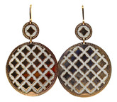 Large Dual Circles Earrings in Rose Gold with Silver Glam