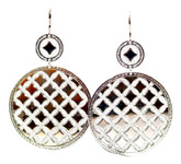 Large Dual Circles Earrings in Stainless Steel with Silver Glam