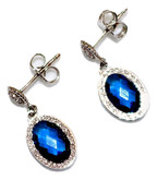 Small Drop Earrings with Blue Oval Crystals