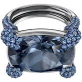 Swarovski Make-Up Cocktail Ring, Blue in Ruthenium