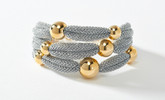 Adami & Martucci 3-String Silver Mesh Bracelet with Yellow Gold Balls