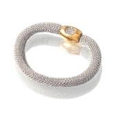 Adami & Martucci Silver Mesh Bracelet with Rose Gold Closure