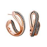 Adami & Martucci Silver Mesh Hoop Earrings in Rose Gold