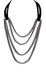 Adami & Martucci Black and Silver Mesh Long Necklace