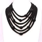 Adami & Martucci Black Mesh 5-Strands Necklace with Knots