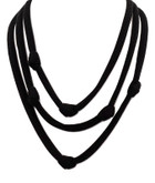 Adami & Martucci Black Mesh 3-Strands Necklace with Knots