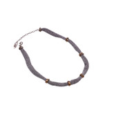 Adami & Martucci Silver Mesh Short Necklace with Small Wired Rings