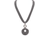 Adami & Martucci Silver Mesh Necklace with Circle Pendant