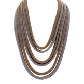 Adami & Martucci Multi Layered Silver and Gold Mesh Necklace With Gold Closure
