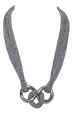 Adami & Martucci Silver Mesh Necklace With Round Chain Links Pendant
