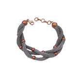 Adami & Martucci 3-Strands Silver Mesh Bracelet with Small Rose Gold Matte Balls