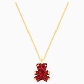 Swarovski Teddy Bear 3D Red Pendant, Gold