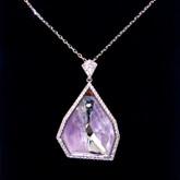 Swarovski Allure Crystal and Amethyst Gemstone Short Pendant