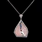 Swarovski Allure Crystal and Pink Quartz Gemstone Short Pendant