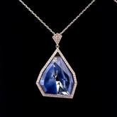 Swarovski Allure Crystal and Blue Lapis Gemstone Short Pendant
