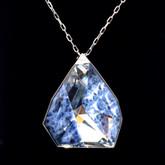 Swarovski Allure Crystal and Blue Lapis Gemstone Long Pendant