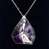 Swarovski Allure Crystal and Amethyst Gemstone Long Pendant