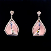 Swarovski Allure Crystal and Pink Quartz Gemstone Drop Earrings