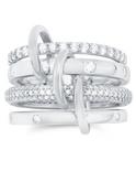 Crislu Q-link Platinum-Plated Stackable Ring