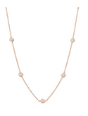 "Crislu 4 mm Bezel Set CZ Short Necklace (16""), Rose Gold"