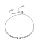 Crislu Bezel Set Adjustable Bracelet in Platinum
