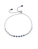 Crislu Bezel Set Sapphire CZ Adjustable Bracelet in Platinum