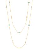 Crislu Turquoise and Baguette CZ Chain Long Necklace in Yellow Gold