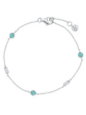 Crislu Turquoise and Baguette CZ Chain Bracelet in Platinum