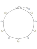 Crislu Bezel Set CZ and Freshwater Pearl Chain Bracelet in Platinum