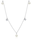 Crislu Bezel Set CZ and Freshwater Pearl Drops Necklace in Platinum