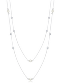 "Crislu Bezel Set CZ and Freshwater Pearl Multi-Station Long Necklace in Platinum (36"")"