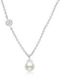 Crislu Bezel Set CZ and Freshwater Pearl Pendant in Platinum