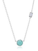 Crislu Turquoise and Baguette CZ Small Chain Necklace in Platinum