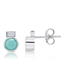 Crislu Turquoise and Baquette-Set CZ Small Stud Earrings in Platinum