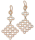 Rose Gold Plated Clear Crystal Net Earrings