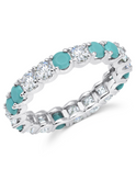 Crislu Brilliant Cut CZ and Turquoise Eternity Band Ring